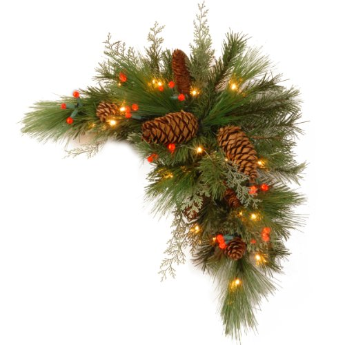 Christmas Swags - National Tree 30 Inch Decorative Collection White Pine Corner Swag with 63 Battery Operated Soft White and Red LED Lights (DC13-116-30CB-1)