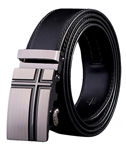 West Leathers Men's Solid Buckle with Automatic Ratchet Leather Belt 35mm Size 42 Style 30
