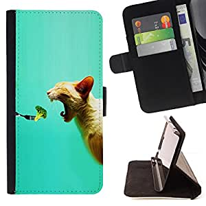 BullDog Case - FOR/HTC DESIRE 816 / - / broccoli fresh vegan food cat bite mouth /- Monedero de cuero de la PU Llevar cubierta de la caja con el ID Credit Card Slots Flip funda de cuer