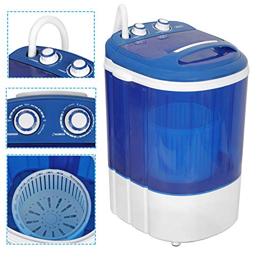 ZENY Portable Mini Washing Machine 9lbs Capacity Small Semi-Automatic Compact Washer for Compact Laundry,Single Translucent Tub