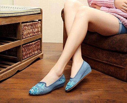 Blue Mujeres Bordado De Estilo Moda Suela En Zapatos Casual Étnico Zapatos El Tendón Gamuza Jeans Aumento Mn Cómodo Xaxw0zdz