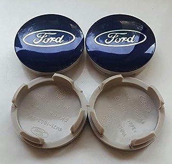 Juego de 4 embellecedores de aleación para llantas de Ford, 54 mm, diseño de logotipo, color plateado y azul: Amazon.es: Coche y moto