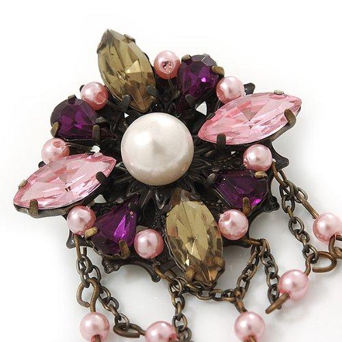 Broche breloque perle acrylique, fausse perle multicolore inspiration vintage en ton bronze