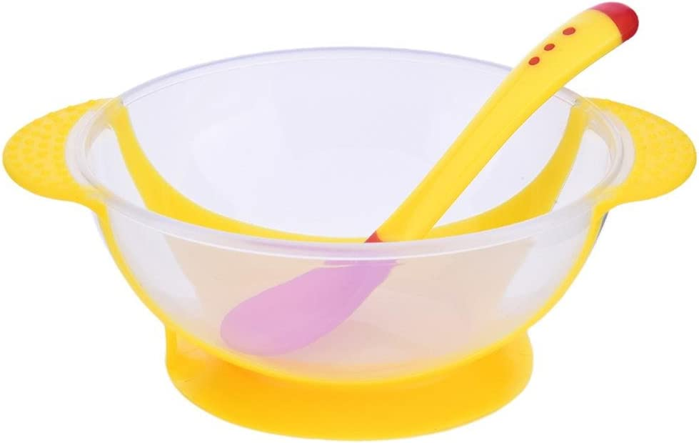 dewdropy B/éb/é Sucker Bowl Nouvelle Cuill/ère Thermosensible Sucker Bowl Set Baby Children Training Bowl
