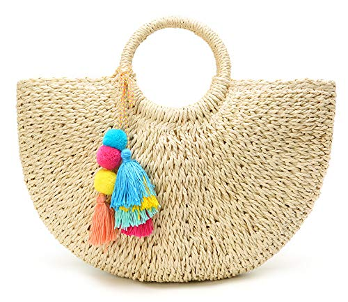 Womens Large Straw Bags Beach Tote Bag Hobo Summer Handwoven Bags Purse With Pom Poms ()
