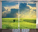Nature Landscape Decor Curtains Summer Landscape With Grass Road Clouds Rural Novelty View Image Home Decor Living Room Bedroom Decor 2 Panel Set Blue Green Review