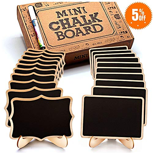 Mini Chalkboard Signs, 20 Pack Framed Small Chalkboard Labels with Easel Stand, Wooden Blackboard for Table Numbers, Food Signs, Wedding Signs, Message Board, Place Cards and Event -