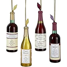Kurt Adler Acrylic Wine Bottle Christmas Ornaments 4 Assorted