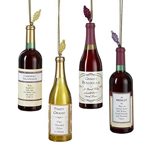 Kurt Adler Acrylic Wine Bottle Christmas Ornaments 4 - Ornament Lover