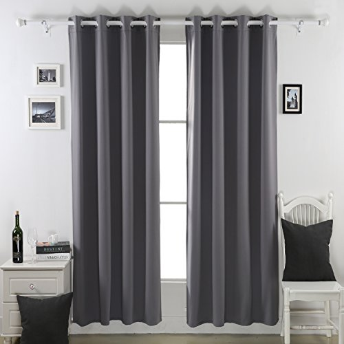 Deconovo Thermal Insulated Blackout Curtains Lined Polar Fleece For Bedroom 52×63-1 Pair,Dark Grey