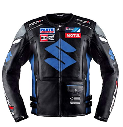 Suzuki Blue Motorcycle Racing Leather Jacket (L (EU52-54))