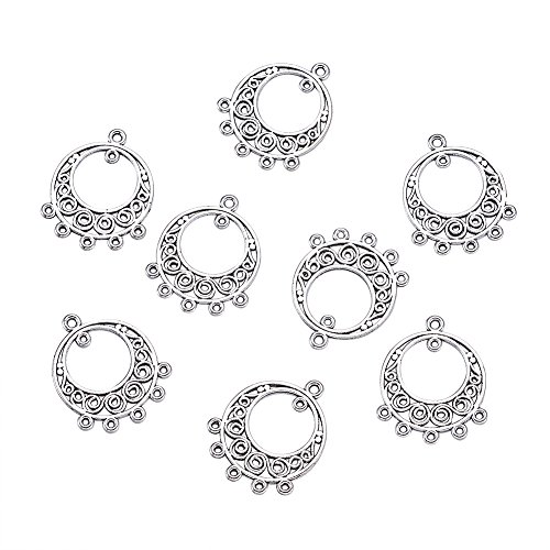 Pandahall 200pcs Tibetan Antique Silver Flat Round Chandelier Component Charm Links for Necklace Dangle Earring Making 24x20x1mm