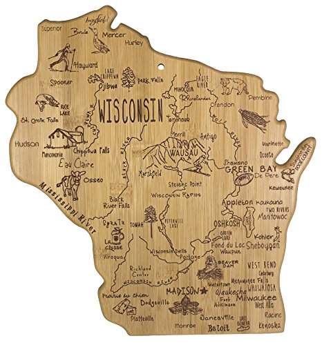 City Gift (Totally Bamboo Destination State Serving Board, Wisconsin, 100% Bamboo Board for Serving Food and Entertaining)