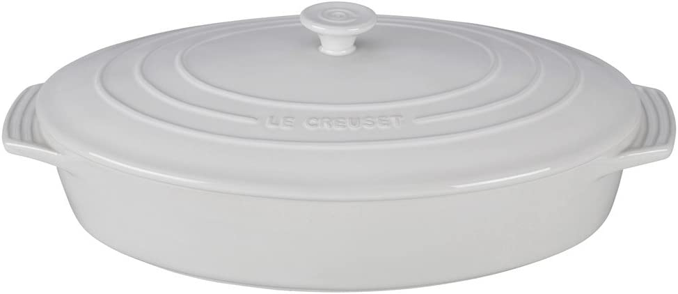 Le Creuset PG1140S -3616 Stoneware Covered Oval Casserole, 3-3/4-Quart, White