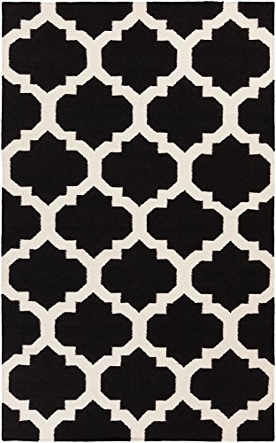 Contemporary 4'x6' Rectangle Area Rug in Raven- White color from Dynasty Collection - Dynasty Collection Area Rug