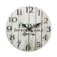 Rebecca Mobili Orologio Decorativo, Orologi a Muro, Home Sweet Home, Stile Shabby, Legno Bianco – Misure: Ø 33,8 cm x P…