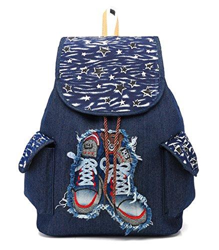 HopeEye Damen Modetrends Leinwand Frau Rucksack(fbsjb10-5-Blue) 3-blau
