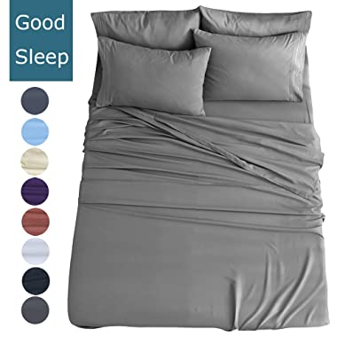 Shilucheng Full Size 6-Piece Bed Sheets Set Microfiber 1800 Thread Count Percale | 16 Inch Deep Pockets | Super Soft and Comforterble | Wrinkle Fade and Hypoallergenic(Full, Dark Grey)