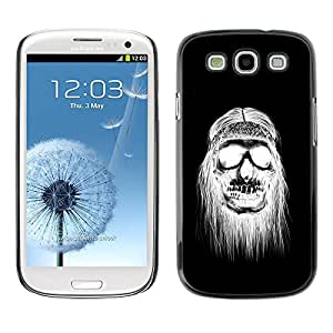 Paccase / SLIM PC / Aliminium Casa Carcasa Funda Case Cover - Black White Hippie Skull Death - Samsung Galaxy S3 I9300