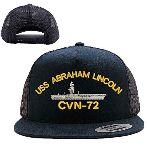 USS ABRAHAM LINCOLN CVN-72 Military Mesh Trucker Snap Closure Cap black