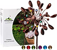 Solar Wind Spinner Jewel Cup 190cm (75inches) tall -360 Degrees Swivel Multi-Color LED Lighting Solar Powered