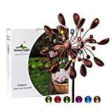 SteadyDoggie Solar Wind Spinner New 75in Jewel Cup Multi-Color Seasonal LED Lighting Solar Powered Glass Ball with Kinetic Wind Spinner Dual Direction for Patio Lawn & Garden
