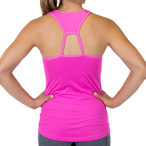 Max Threads Womens Racerback Tank Top - Workout Top With Built-In Bra and Removeable Modesty Cups - Pink - Large
