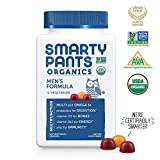 SmartyPants Organic Men's Complete Gummy Vitamins: Vegetarian Multivitamin & Omega-3, Probiotic,* Vitamin D3, Vitamin B12, 120 Count (30 Day Supply)