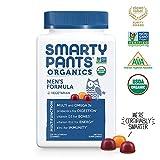 Daily Organic Gummy Men's Multivitamin: Biotin, Vitamin C, D3, E, B12, A, Omega 3 Fish Oil, Zinc, Selenium, Niacin, Iodine, Choline, Methylfolate, Thiamine by SmartyPants (120 Count, 30 Day Supply)
