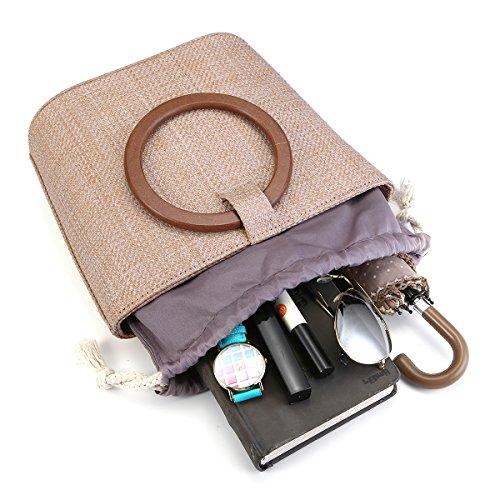Kaki pour Le Sac Main à Quotidienne de Women Straw et Sac Voyage Paille d'épaule l'utilisation de Plage JOSEKO xHw4Tgzf