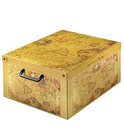 Caja de almacenaje decorativa ☆ Cartón práctico con tapa y asas estables | Diseño Marco