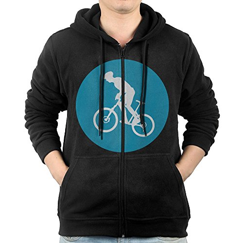 Mountain Bike Circle Icon Hoodies for Men Full-Zip Hooded Sweatshirt with Pocket