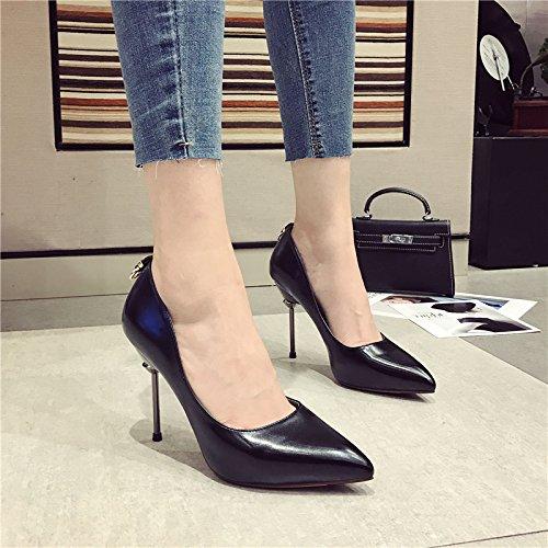 fine scarpe donna 38 10 singola Court con Party e scarpe Comfort Nero alti Moda Ajunr tacchi i 38 5cm punta retrò Elegante scarpe z0E5TnqWxw