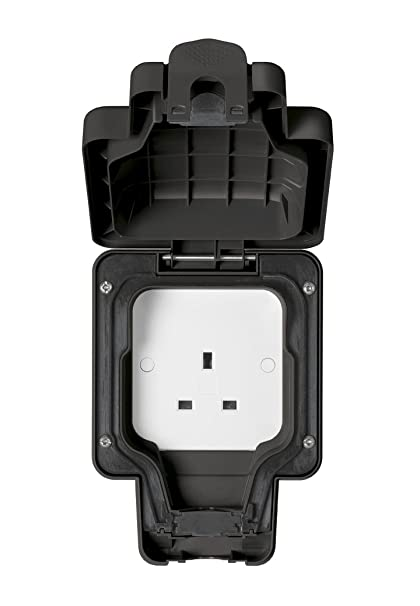MK Masterseal Plus K56480BLK 13 amp 1-Gang Unswitched Socket