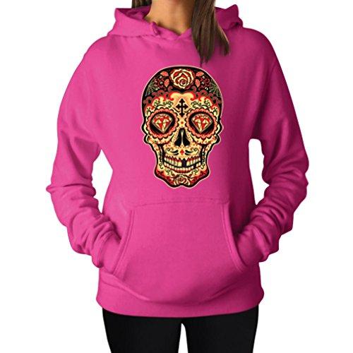 TeeStars Women's - Sugar Skull Diamond Hoodie Large Pink (Skull Pink Hoodie)