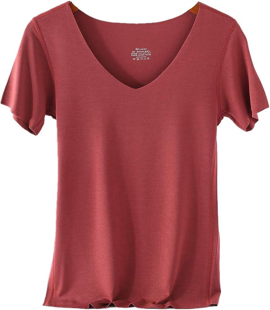 NOBRAND - Camiseta de manga corta con cuello en V para mujer