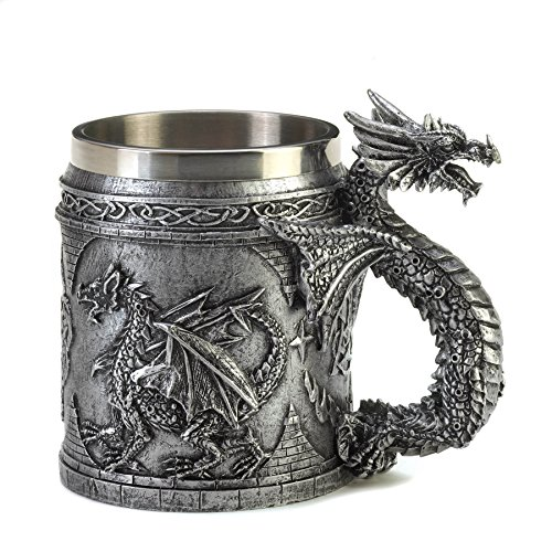 This medieval-inspired mug is the most intimidating way to keep your items in order as a serpentine dragon guards your writing quills or your collection of coins stored within. Fully decorated with dragon reliefs and Celtic symbols, this mug ...