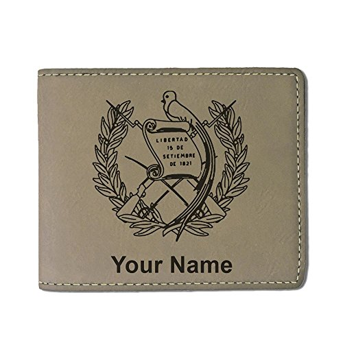 Faux Leather Wallet, Flag of Guatemala, Personalized Engraving Included (Light Brown)