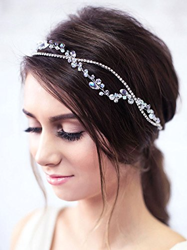 Yean Wedding Hair Vine with Ribbon Headband Silver Rhinestone Chain Crystal Wreath Crown Bridal Flower Vine Accessories Wedding Hairstyle for Bride and Bridesmaid - 15.74inches