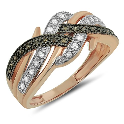 015-ctw-10k-Gold-Brown-Diamond-Ladies-Womens-Champagne-Bypass-Round-Cut-Ring-Criss-Cross-Band-Fashion