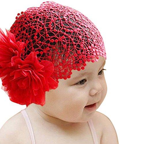 Palarn Flower Toddlers Girl Lace Headband, Elegant Baby Stretchy headwear Crochet Hat (Red)