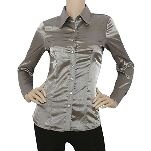 (Mememall Fashion Lady Satin Charmeuse L/Slv Button Down Solid Collar Shirts)