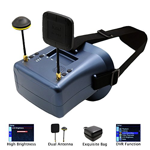 FPV Goggles Headset with DVR 5.8GHz 40CH Raceband Headrest Video Glasses 4.3 Inch LCD Display Built-in 3.7v/2000mAh Battery for RC Racing (Quad Lcd Dvr)