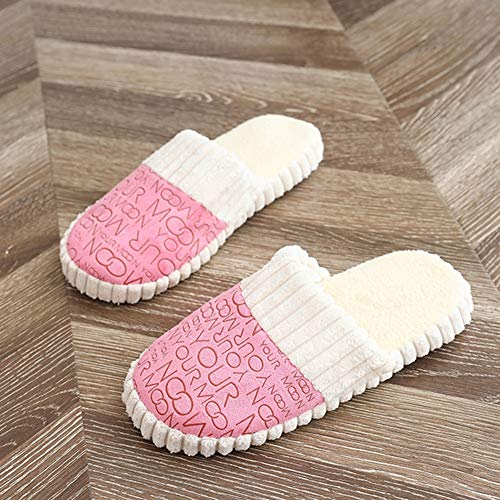 Tingting Autunno Tondo Pink Dimensioni Baotou 39 Ciabatte Inverno Scarpe Cotone Pattini E Unita Pink colore Tinta Piatto Tacco Donna In Pantofole Z7w8q