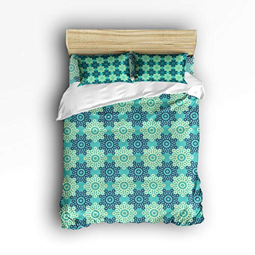 Cloud Dream Home 4 Piece Bedding Set,Green Snowflake Geo Patterns Duvet Cover Set Quilt Bedspread for Childrens/Kids/Teens/Adults Queen Size(Large) ()