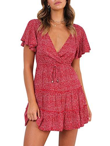 YIBOCK Women's Summer V Neck Polka Dot Ruffle Swing A Line Beach Mini Dress Red ()