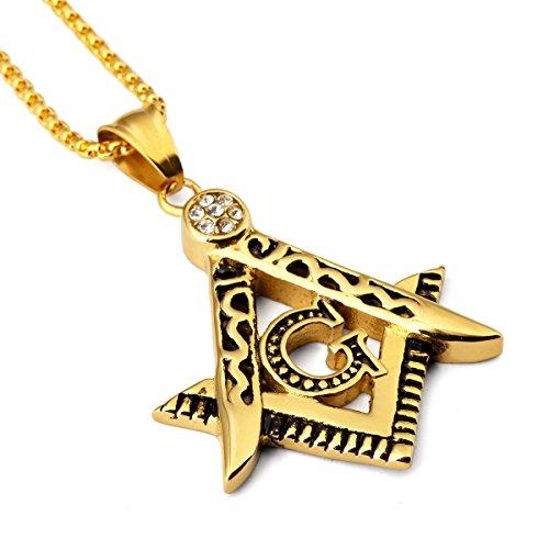 [NYUK Mens Free Mason G Hip Hop Silver/Gold Pendant Necklace(Gold)] (Guys Hip Hop Dance Costumes)