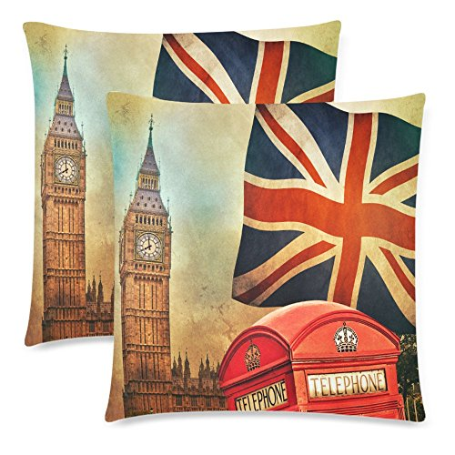 InterestPrint 2 Pack Vintage London Union Jack Big Ben Pillowcase 18x18 Cushion Case Cover Twin Sides, Retro Telephone Red Booth Zippered Throw Pillow Case Cover Decorative for Couch Bed - Jack Decorative Pillow