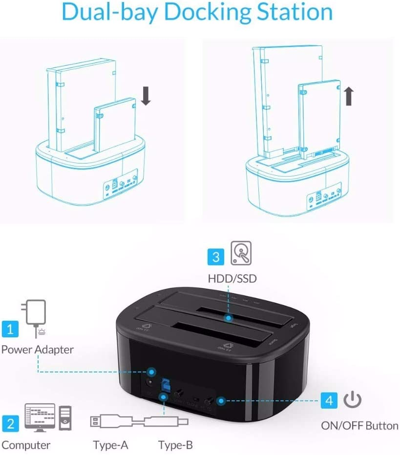 UASP Protocol YHML USB 3.0 to SATA Dual-Bay Hard Drive Docking Station for 2.5//3.5-Inch Hard Drives//SSD with Offline Cloning