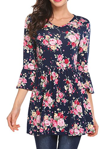 pasttry Women's Floral Tops,3/4 Sleeve Empire Waist A Line Flowy Tunics Blouses 3/4 Sleeve Empire Waist Top